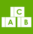 alphabet cubes with letters abc icon green vector image vector image