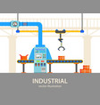 automated packaging line at plant or factory vector image vector image