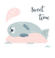 baby print with cute seal hand drawn graphic vector image