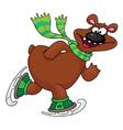 bear on ice skates vector image vector image