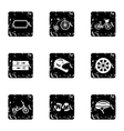 Bicycle parts icons set grunge style vector image vector image