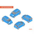 Blue isometric hatchback vector image vector image