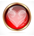 Bright button with the white curls heart shape vector image