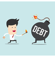 Business man and spark DEBT bomb vector image vector image