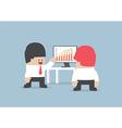 Businessman presentation growth chart on monitor vector image