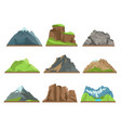cartoon mountains silhouettes rocky ridges vector image
