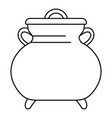 cauldron kettle icon outline style vector image vector image