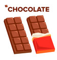 chocolate bar icon dark opened taste bar vector image