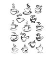 coffee cups icons set for cafeteria or cafe vector image