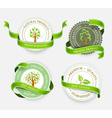 Collection of green stickers vector image