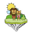 color happy couple lion in the float island vector image vector image