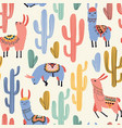 colorful llamas and cacti vector image vector image