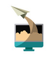 colorful silhouette of lcd monitor and paper plane vector image vector image