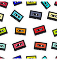 compact audio cassette tape seamless background vector image vector image