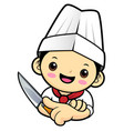 cook character is holding a kitchen knife vector image vector image
