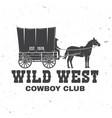 cowboy club badge wild west concept vector image vector image