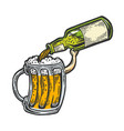 cup pours beer from bottle color sketch vector image vector image