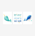 cute posters with sweet underwater animal vector image