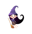 cute smiling girl in witch costume with hat and vector image