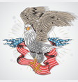 eagle hawk usa flag detail vector image