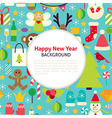 Flat Happy New Year Pattern Background vector image vector image