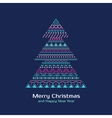 Greeting card with colored Christmas tree in vector image vector image