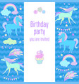 happy birthday holiday card with rainbow unicorn vector image vector image