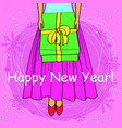 happy new year card cartoon girl buttom vector image vector image