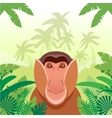 Long-nosed monkey on the Jungle Background vector image vector image