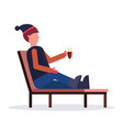 man relaxing on lounge chair at resort guy vector image