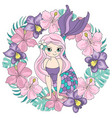 mermaid flower sea travel clipart color vector image vector image
