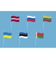 National flags of Russia Ukraine Belarus Latvia vector image vector image