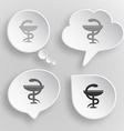 Pharma symbol White flat buttons on gray vector image