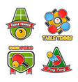 ping pong table tennis icons set for sport vector image vector image
