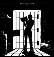 prisoner silhouette reading in cell black color vector image vector image
