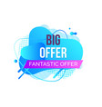 promotion label big offer advertising vector image vector image