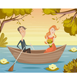 romantic date couple in love girl and boy in boat vector image vector image