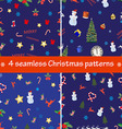 Set of 4 Christmas seamless patterns vector image vector image