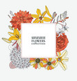 square wreath with summer flowers - dahlia vector image vector image