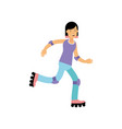 teen girl rolling on roller blades active vector image vector image