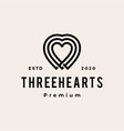 three heart love hipster vintage logo icon vector image vector image