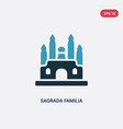 two color sagrada familia icon from monuments vector image vector image