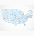united states borders map with names vector image vector image