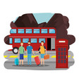 young men with suitcases in london street vector image vector image