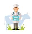 Happy Milkman Flat style colorful Cartoon vector image