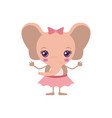 colorful caricature of cute expression female pink vector image
