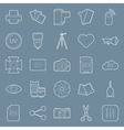 Photo equipment end editing thin lines icons set vector image