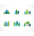 real estate city skyline icons and logos vector image