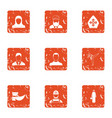 acting person icons set grunge style vector image