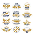 aviation airplane legend team retro icons vector image vector image